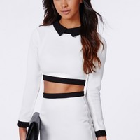 Missguided - Whitney Collared Two Piece Bodycon Dress Cream
