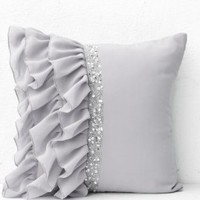 Silver grey ruffled sequin throw pillows with hand embroidery- 18x18 pillows in Georgette- Decorative throw pillow covers handmade- Gray cushion cover in georgette- Sofa pillows- An exquisite gift