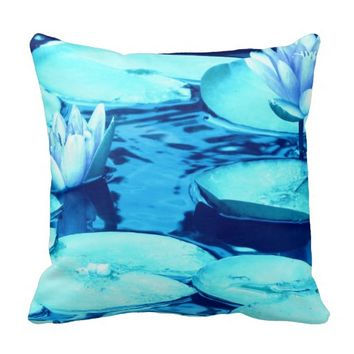 Aqua Blue Waterlily Throw Pillow-Style 1