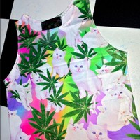 SWEET LORD O'MIGHTY! STONER KITTY CROP TANK