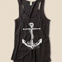Refuse To Sink Anchor Eco Heather Racerback Tank Top in Black