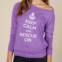 Keep Calm and Rescue On Eco Slouchy Shirt in Purple