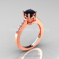 Classic 14K Rose Gold 1.0 Carat Black Diamond White Diamond Solitaire Wedding Ring R101-14RGDBD