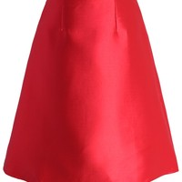 Textured A-line Skirt in Red Red