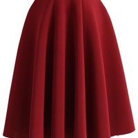 Simple Chic Airy Full Skirt in Wine Red
