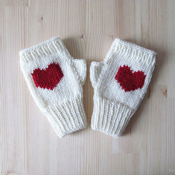 Hand Knit Fingerless Gloves in Ivory - Red Embroidered Heart - Seamless - Wool Blend