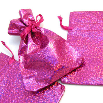 "5 Small Bright Pink Hologram Drawstring Gift Bags - 2 1/2"" x 3 3/4"" - Sparkly Hologram Material - Store Owner Jewelry Supplies"