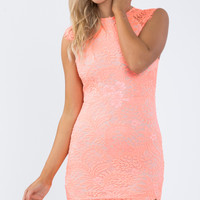 (buy early) Laced Out Dress in Orange - Popcherry