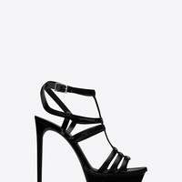 Saint Laurent Bianca 105 Sandal In Black Patent Leather | ysl.com