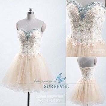 Champagne Short Mini Evening Party Dress Homecoming Dress Prom Dresses