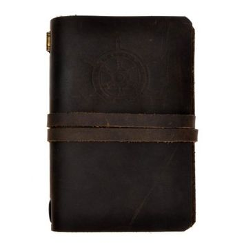 ZLYC Vintage Handmade Refillable Leather Rudder Emboss Traveler's Blank Pages Journal Diary Notepad Notebook with Strap Dark Brown 3