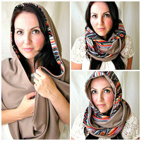 CUSTOM Made to Order Reversible Hooded Scarf, Scoodie, Shawl Scarf, Tribal print Infinity scarf with Hood