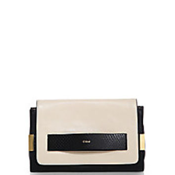 Chloé - Elle Medium Leather & Snakeskin Clutch with Chain - Saks Fifth Avenue Mobile