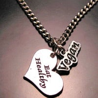 Vegan eat healthy heart  necklace