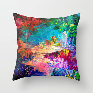 WELCOME TO UTOPIA Bold Rainbow Multicolor Abstract Painting Forest Nature Whimsical Fantasy Fine Art Throw Pillow by EbiEmporium