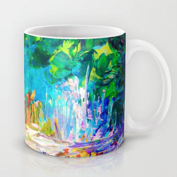 WELCOME TO UTOPIA Bold Rainbow Multicolor Abstract Painting Forest Nature Whimsical Fantasy Fine Art Mug by EbiEmporium