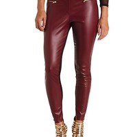 PANELED FAUX LEATHER HIGH-WAISTED SKINNY PANTS