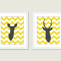 Deer Antlers - Yellow and Grey - Chevron - Print Set - Nursery - Wedding - Wall Art - Woodland - Home Decor - Office Art