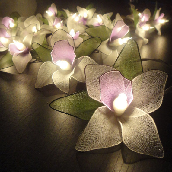 20 Purple-White-Green Orchid Flower Fairy String Lights Wedding Party Floral Home Decor 3.5m