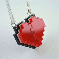 Pixel Heart Friendship Necklaces - Laser Cut Acrylic