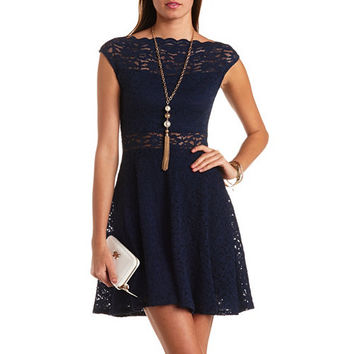SCALLOPED LACE BOAT NECK SKATER DRESS