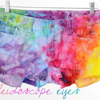 Vintage Low Rise RAINBOW Marbled Dyed Denim Destroyed Cut Off Shorts L