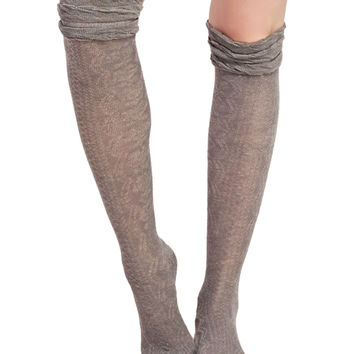 Textured Ruffled Knee-High Socks | Wet Seal