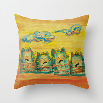 Singing Cats Throw Pillow by Moonlighting