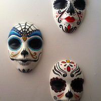 Set of three Sugar skull Day of the Dead wall hanging mask sculptures Halloween decor Catrina Art Mexican folk art home decor All Saints