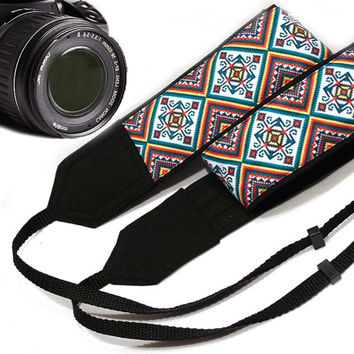 Geometric Camera Strap. Nikon, Canon Camera Strap. Dslr Camera Strap. Ethnic Camera Strap