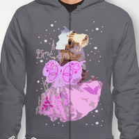 Dachshund (Dog) Graphic Print Zip-up Hoodie - &quot;A Dream is a Wish Your Heart Makes&quot; -Cinderlla