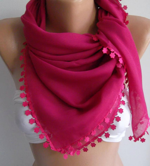 Fuchsia - Shawl with Lace - Turkish Shawl - -Anatolians Scarf - Very Soft cotton fabric-