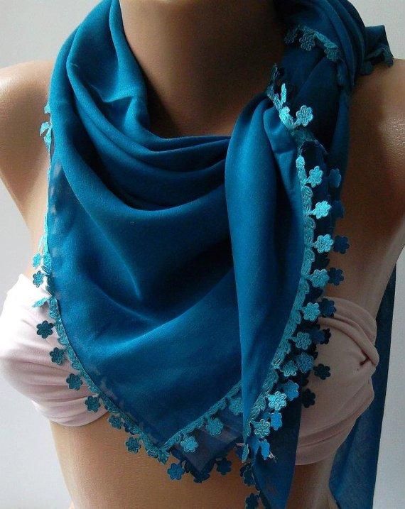 Blue  - Shawl with Lace - Turkish Shawl - Anatolians Scarf - Yemeni-
