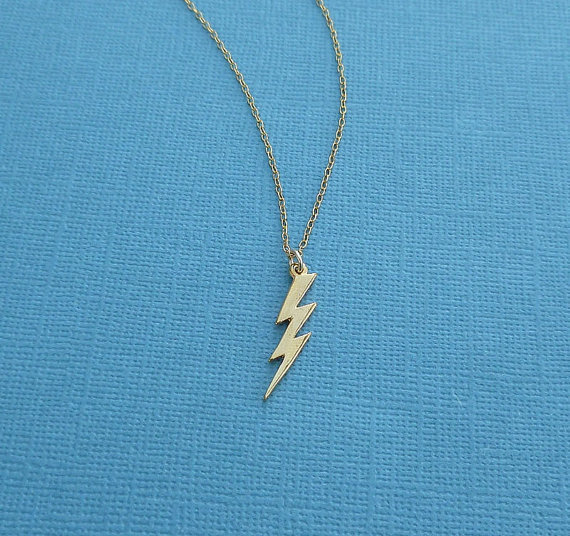 gold lightning bolt necklace 14kt gold filled chain
