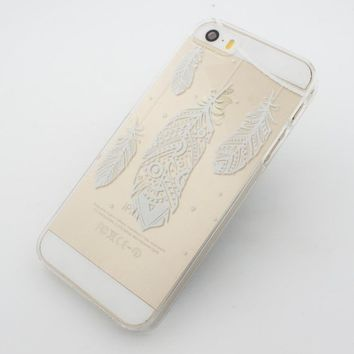 Clear Plastic Case Cover for Apple iPhone 5/5S, 5C, 6, 6Plus 6+ - Henna Hanging Feathers tribal ethnic mayan aztec american indian chief flower floral
