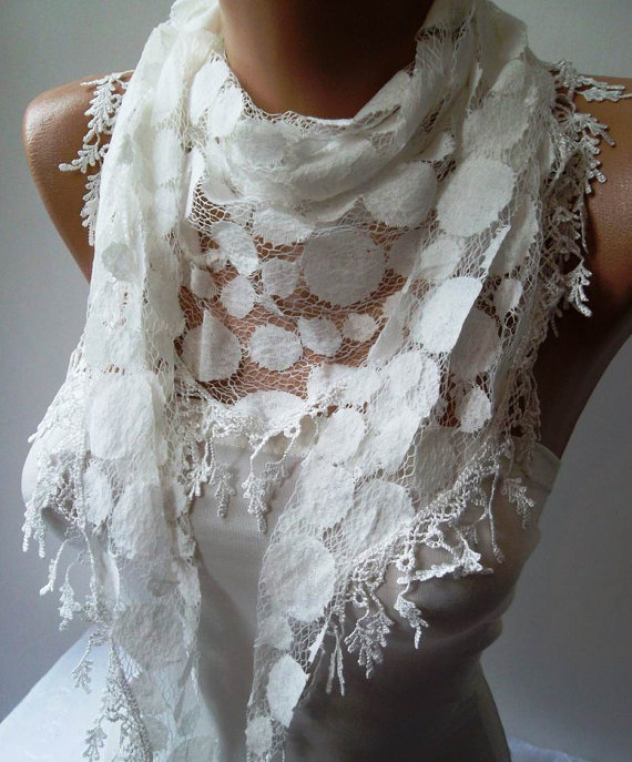 White Lace Scarf - Polka Dot - with White Trim Edge