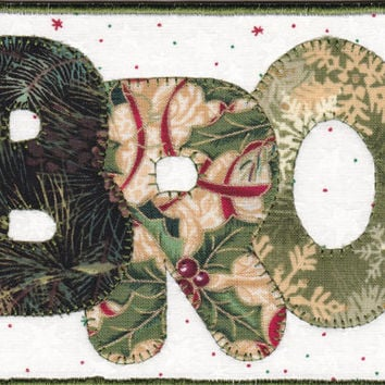 Brother Christmas Quilted Fabric Postcard