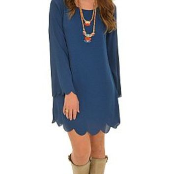 Scalloped Edge Dress, Teal :: NEW ARRIVALS :: The Blue Door Boutique