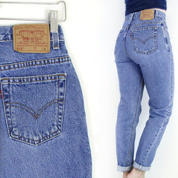 Vintage 90s High Waist Levi's 512 Slim Fit Tapered Jeans - Women's Stone Washed High Rise Faded Medium Blue Denim Jeans - Size 6 28 Waist