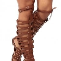 Tan Faux Leather Thigh High Gladiator Sandals @ Cicihot Sandals Shoes online store sale:Sandals,Thong Sandals,Women's Sandals,Dress Sandals,Summer Shoes,Spring Shoes,Wooden Sandal,Ladies Sandals,Girls Sandals,Evening Dress Shoes