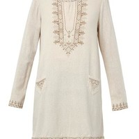 Zita embroidered textured-silk tunic
