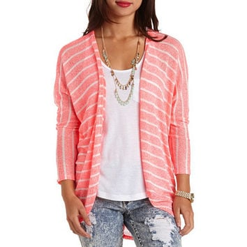 NEON STRIPED OPEN KNIT COCOON CARDIGAN