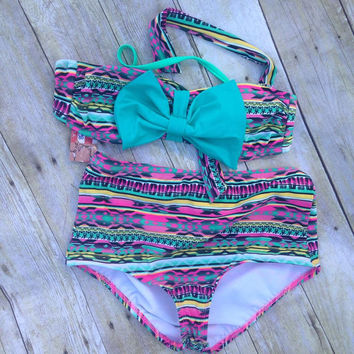 High waist swim suit with bow turquoise chevron black chevron aztec demim with bow navy stipe with red bow