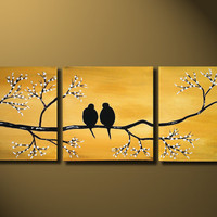Gold Love Birds Painting, Original LARGE Canvas 36x12, Loving, Romantic, Wedding Gift, Flowers Tree Landscape, ready to hung, Metal Fine Art