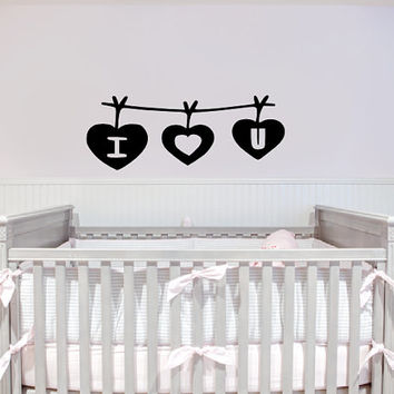 I HEART U Wall Decal - Gift Idea - Home Decor - Wall Art - Nursery - Kids Room - Living Room - Bedroom - High Quality Vinyl Graphic
