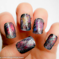 Nebula Nails, Artificial Nails with Galaxy Space Theme