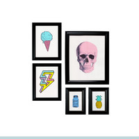 Gallery Wall Collage 5 Prints Framed Wall Hangings - Color Pop Set