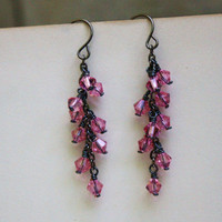 Light Rose Pink Swarovski Crystal Cluster Earrings