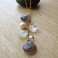 Multi Gemstone Cascade Gold Necklace, peruvian chalcedony, labradorite, fresh water pearl, crystal, moonstone