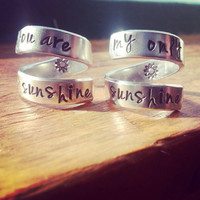 you are my sunshine/my only sunshine  two aluminum rings 1/4 inch wide